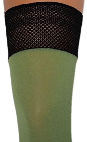 Warme halterlose Strümpfe 100 den blickdicht mit Spitzenabschluß und Silikonstreifen (S, grün)