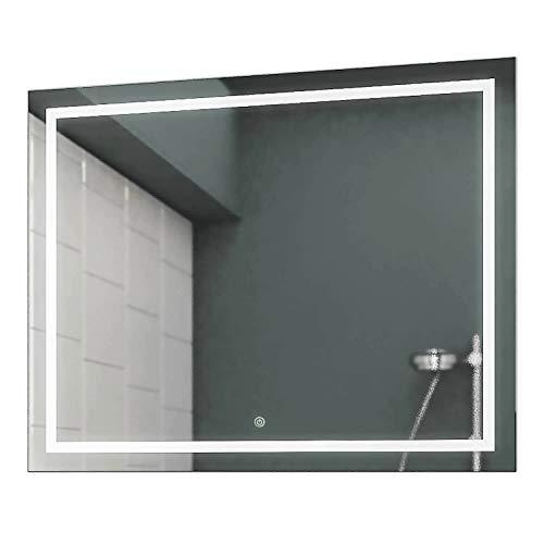 Allegro Spiegel (Concept2u® LED Badspiegel Badezimmerspiegel Wandspiegel 4000K Neutralweiß inkl. Touch Schalter/Dimmer 50 cm Breit x 50 cm Hoch Allegro Licht umlaufend)