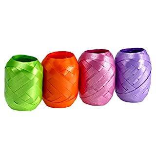 autooptimierer.de Ringelband Set Extra Breit 4 Stück Geschenkband Schleifenband Eiknäuel Polyband (Lila/Orange/grün/Rosa)