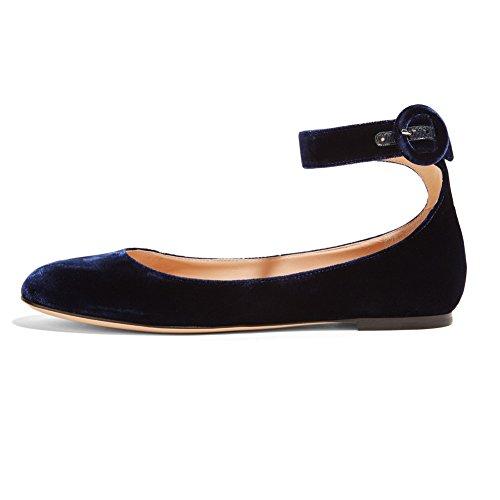 ELASHE - Femmes - Ballerines - Grande Taille Chaussures - Plates à brides cheville - Bout pointu fermé Bleu-Velours