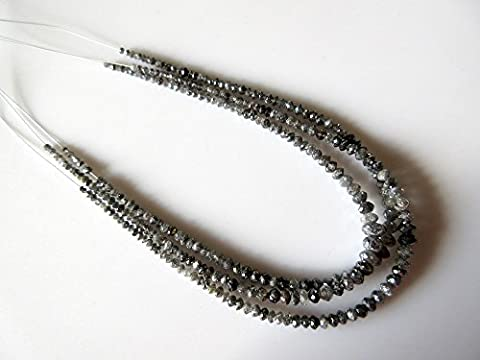 7 Inches Strand/Natural Gray Black Rough Faceted Diamond Beads/Rare Salt And Pepper Raw Diamonds/2mm-4.5mm Each -DF55