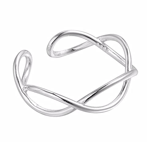 iszie jewellery sterling silver small toe ring adjustable infinity open twist hollow cross design ladies fashion toe