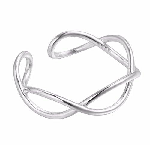 Joyería iszie, pequeño anillo para el pie de plata esterlina ajustable con diseño en cruz, vacío y retorcido, con abertura infinita, anillo a la moda para mujeres