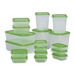 IKEA PRUTA Frischhaltebox  Kunststoff Dose mit Deckel 17er-Set, Transparent, Grün