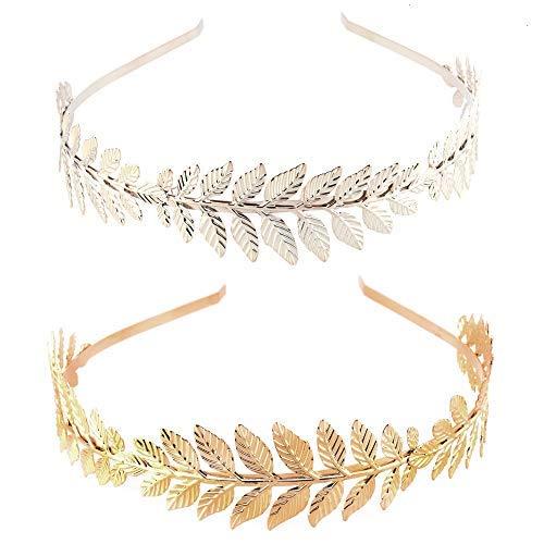Feeko Stirnband, 2 Stück, römische Göttin, Blätter, Zweig, Exquisite Brautkrone Tiara Haarband, Gold und ()