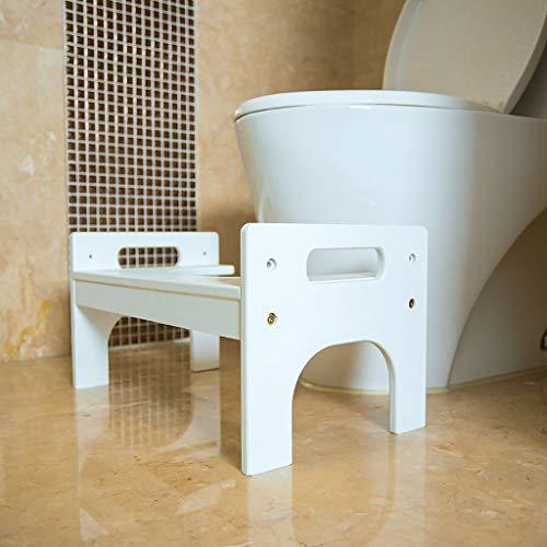ZXL Verdicken Massage Bambus Bad Einstellbar Anti-Rutsch-Hocker Multifunktionale Massivholz WC-Hocker (Farbe : Weiß)