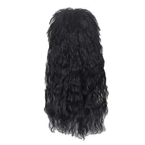 Angoter Männer Lange Synthetische Haar-Verlängerungs-Perücke Schwarz Farbe Toupet Punk Puffy Kopfbedeckung Für Halloween (Meeräsche Kostüm Perücke)