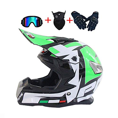 LEENY Casco da Motocross, Verde/Bianco/Nero Caschi da Cross con Occhiali/Maschera/Guanti, Casco da Moto off-Road Enduro Racing Downhill Casco ATV MTB BMX Quad Casco da Motociclista,L