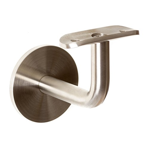 Gebogen 42 Edelstahl Handlaufhalter Bayram/® mit flach oder rund Anschraubplatte Handlauftr/äger 42,4 mm V2A Gel/änderhalterung Handlauf