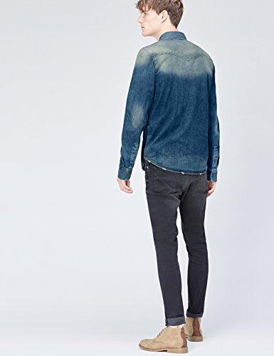 FIND Herren Jeans-Hemd mit ausgebleichter Waschung Blau (Simeto Wash)