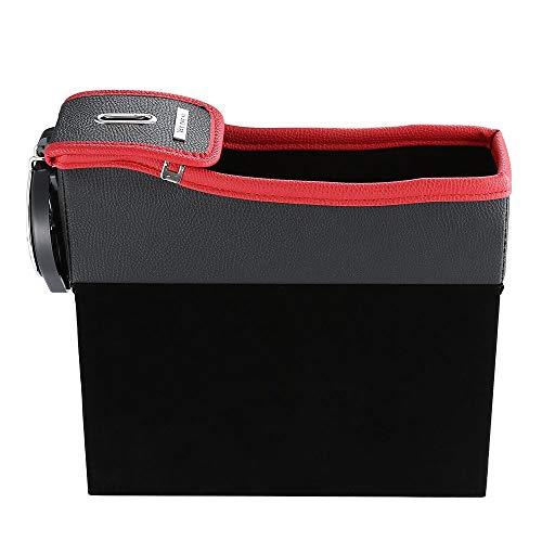 CHOULI Multifunction Car Seat Gap Storage Box Cup Drink Holder Coins Organizer red & Black (Cup Holder Car Organizer)