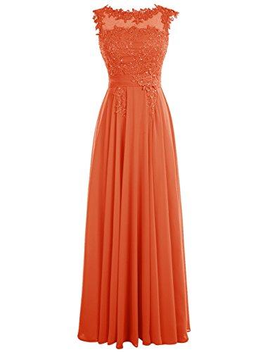 Dressystar Robe femme, Robe de soirée/ Cérémonie longue, appliques, en Mousseline Orange