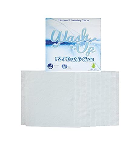 Wash Up Disposable Washcloths for Comfort Bath & No Rinse Body Wipes - Aloe Vera best antibacterial body wash + No Rinse Bathing. Ideal for Outdoor Shower, Camping Bath, Kids Sanitizing, Handicap Bath
