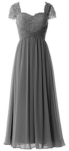 MACloth Women Cap Sleeves Mother of Bride Dress Lace Chiffon Evening Formal Gown gray