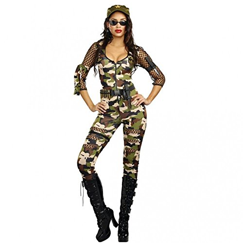 Dreamgirl Kostüm Army Girl Cathy Gr. S, M, L Overall Camouflage Armee Soldatin Kriegerin ()