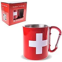 Double Paroi Acier Inoxydable Tasse thermo Mug Switzerland avec mousqueton Rouge 220ml