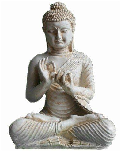 Große Buddha Figur in Elfenbein-Optik - Dharmachakra-Mudra (Buddha Groß)