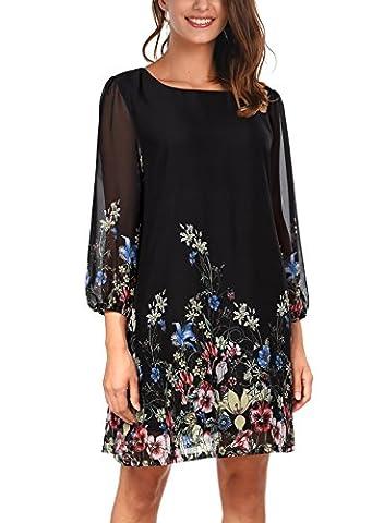 DJT Women's Casual Floral Print 3/4 Sleeve Round Neck Chiffon Loose Top Mini Dress Black Medium