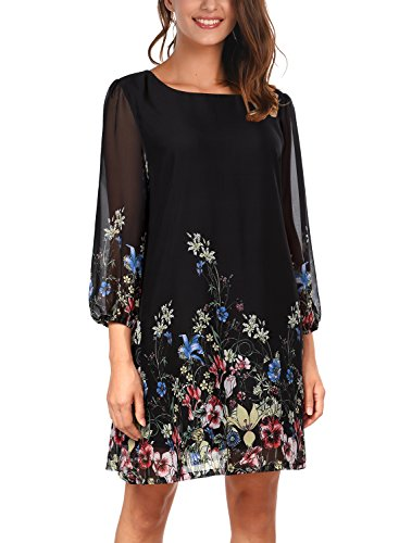 djt-womens-casual-floral-print-3-4-sleeve-round-neck-chiffon-loose-top-mini-dress-black-medium