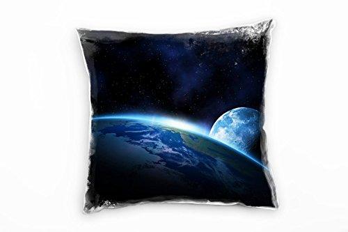 Paul Sinus Art Natur, Schwarz, Blau, Erde, Weltall, Mond Deko Kissen 40x40cm für Couch Sofa Lounge...