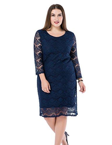Chicwe Damen Kleid Große Größen Navy Spitzen mit gefütterten 3/4 Ärmeln 58, Blau (Sie Rock Seide Auf Ziehen)