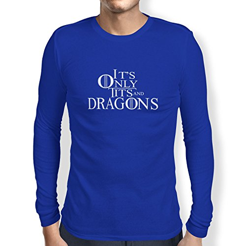 TEXLAB - Tits and Dragons - Herren Langarm T-Shirt Marine