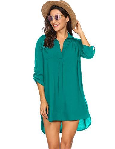 Unibelle Damen Strandkleid aus Baumwolle mit reizvollem V-Ausschnitt und sexy Häkellook über den Bikini oder als sexy Sommer-Bluse zu tragen