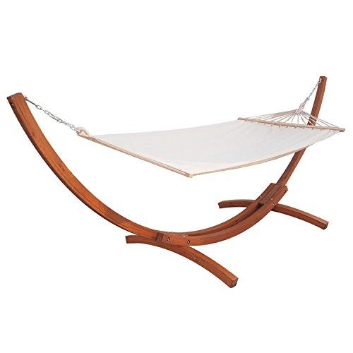 Jalano Hängematte mit Gestell aus wetterfestem Lärchenholz und Liegefläche aus 100% Baumwolle, Stabhängematte weiß 200x120 cm Liegefläche