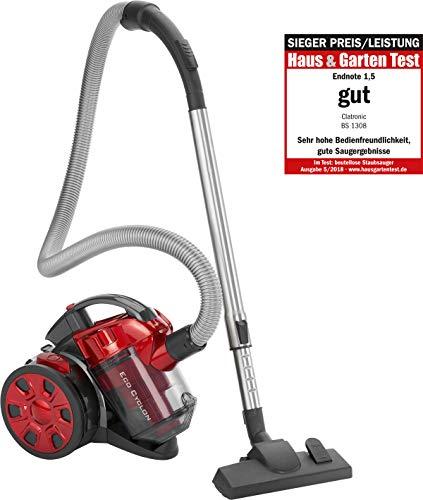 Clatronic BS 1308 P Aspiradora ciclónica sin Bolsa Potente, Turbo Mascotas, Filtro HEPA, Tubo telescópico Metal, Cepillo Mixto y rinconera,eficiencia energética A, 700 W, Rojo