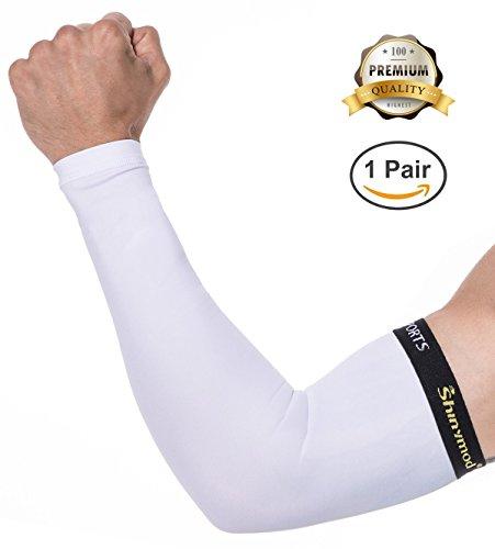 Shinymod manches bras sportifs Unisexe Sun Block Protection UV anti-dérapant Tatouage bras couvre Mains de protection Long manchon coude pour le vélo de randonnée Golf Basketball Running Workout Activités de plein air - 1 paire