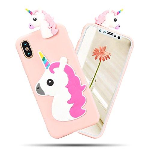 Cover iPhone X Spiritsun Case iPhone X Custodia Moda Ultraslim Soft TPU Case 3D Diy Handy Kawaii Cover High Quality Case Elegante Souple Flessibile Liscio Copertura Perfetta Protezione Shell Morbido S Corni