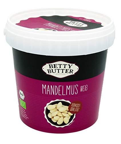 Bio Mandelmus weiß, Premium-Mandelbutter, Mandelpüree, Almondbutter, natürliches Nussmus ohne Zusatzstoffe, Rohkost-Qualität, 1 kg Eimer
