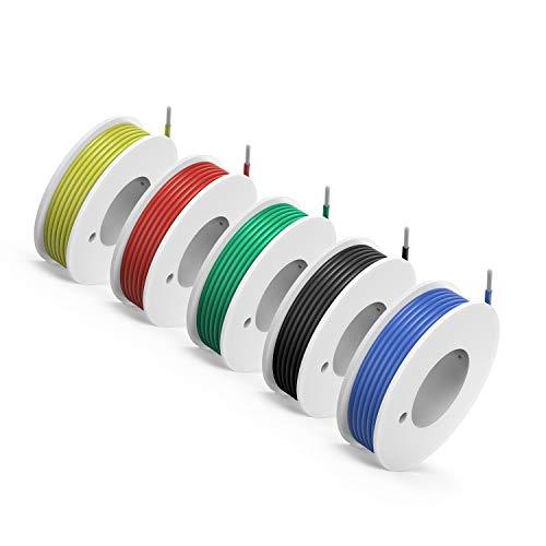 NorthPada 18 AWG 0,81mm² Elektronik Elektrischer Draht Kit Litzen Silikon Leitungen Draht Verzinntes Kupfer Kabel 5 Farbe 600V 7,5A -60°C - +200°C 5 x 4meter -