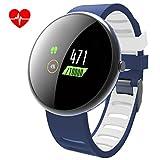 LATITOP Fitness Tracker Uhr mit Pulsmesser und Sphygmomanometer, 2.5D Farbdisplay wasserdicht Aktivitäts-Tracker mit Schrittzähler, Kalorienzähler, Schlafmonitor(Blau)