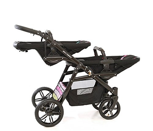Double pram for twins. 2 carrycots + 2 buggies + 2 car seats. Multicolour. BBtwin Berber Carlo Directly from the factory, warranty and advice. Made un the EU according to the regulations EN1888 and ECE44/04. Multicolour. Includes 2 carrycots, 2 buggy seats, 2 car seats, bag, 2 footcovers, 2 rain covers, 2 mosquito nets, lower basket. Features: lightweight aluminium frame, easy bending, adjustable handlebar, central brake, lockable front swivel wheels, shock absorbers, each buggy can be instaled independently in both directions, carrycots with a mattress and a washable cover, backrest adjustable in various positions, safety bar and harness of 5 points 8