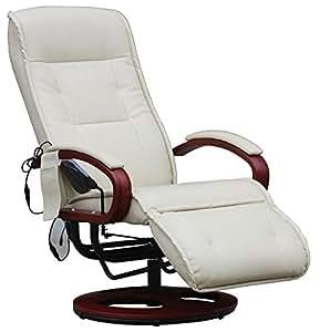Fauteuil inclinable Relax avec massage Arles II en simili cuir coloris crème, Dim: L69 x P78 x H de 98,5 à 118 cm -PEGANE-