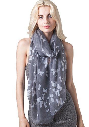 Floral Print Schal (Damen Damen Fashion Schmetterling Print Lange Schals Floral Hals Schal Wrap Gr. One size, 32 Light Gray)