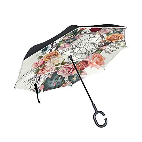 SKYDA Paraguas Plegable de Doble Capa con diseño de Rosas y atrapasueños Coche, Lluvia, Exterior, con Mango en Forma de C