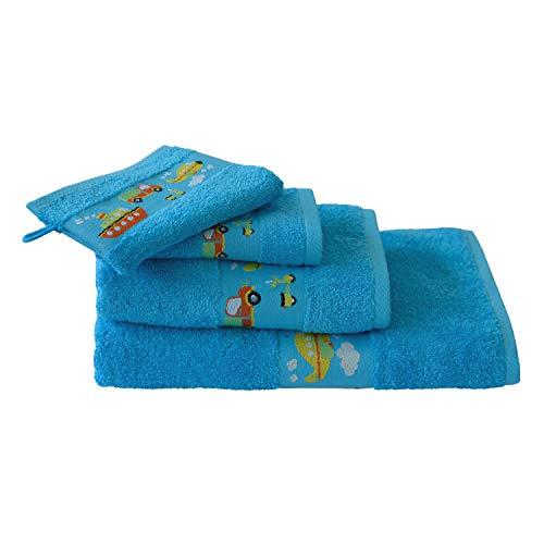 Waschlappen,Handtuch,Kinderhandtuch, Badetuch Ökotex100 Blau -