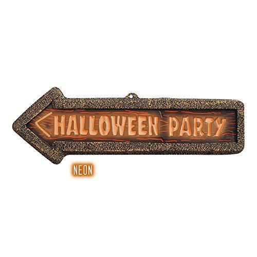 Widmann 2123F 3D Halloween Party Schild Neon, Unisex- Erwachsene, Orange, Taglia Unica (3-element-kostüme Für Halloween)