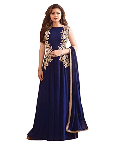 Surat Tex Blue Colored Goergette Embroidered Semi-Stitched Salwar Suit-K518DLC5041