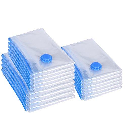 Songmics 80 x 100 / 60 x 80 / 50 x 60 cm Pack de 15 Bolsas al vacío 3 Tamaños para ropa edredones mantas Ahorro de espacio RVM15T