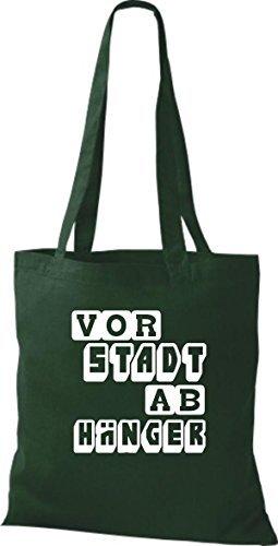 shirtstown Borsa di stoffa divertenti DETTO suburbano STUDENTE VARI COLORI Verde