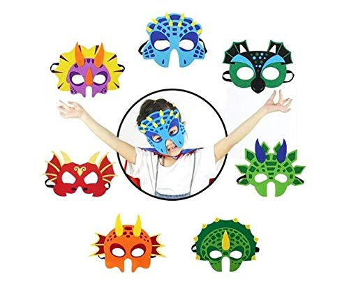 1PCS Dinosaur Party Masks Animal Decorative Party Favors Face Mask for Themed Party Masquerade Halloween Cosplay DIY Xmas Toy,as The pics