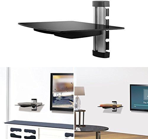 GPCT Support Mural étagère en Verre trempé pour lecteurs de DVD/boîtes de câble/TV Accessoires