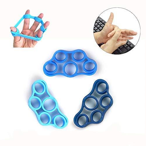 Finger Stretcher & bandas de resistencia de mano, extensor de dedo, ejercitador de fuerza de agarre, entrenador para artritis, carpal, aliviar el dolor de muñeca, ejercicio de antebrazo (3 piezas)