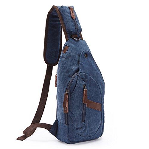Outreo Borse Uomo Petto Tracolla Piccolo Borsa a Spalla Vintage Tasca di Tela Militare Tasche per Sport Viaggio Canvas Chest Bag Outdoor Borsello Marsupio Trekking Blu