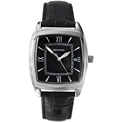 Sekonda Men's Quartz Watch with Black Dial Analogue Display and Black Leather Strap 3776.71