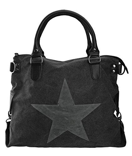 bag2basics Canvas Stampa con stella | Borsa a tracolla shopper Ibiza II diverse Colori Schwarz/PU