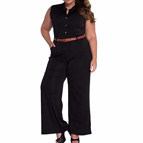 QIYUN.Z Femmes Equipage Formel Cou, Plus La Taille Sans Manches Barboteuses Casual Pantalon Salopette Costume Noir